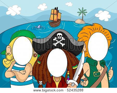 Illustration of Pirates with Blanked Out Faces for Taking Pictures at Photo Booths