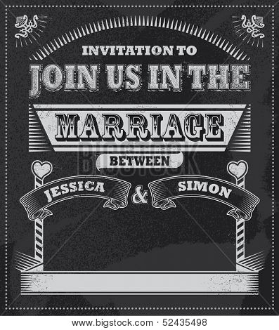 Wedding Chalkboard invitation. Blackboard vector design. Removable textured background.