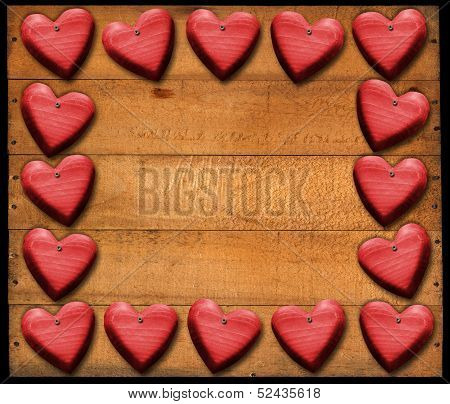 Red Hearts Frame On Wooden Boards