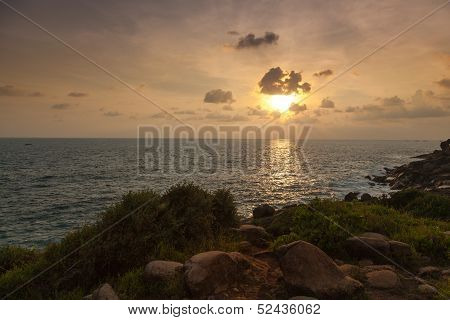 Sri Lanka. Sri Lanka. Unawatuna. Magical view of the ocean at sunset.