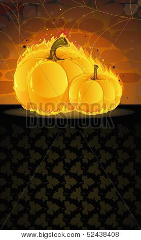 Dark Dungeon And Burning Pumpkins