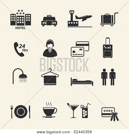 Hotel Services Icons set on texture background. Vector