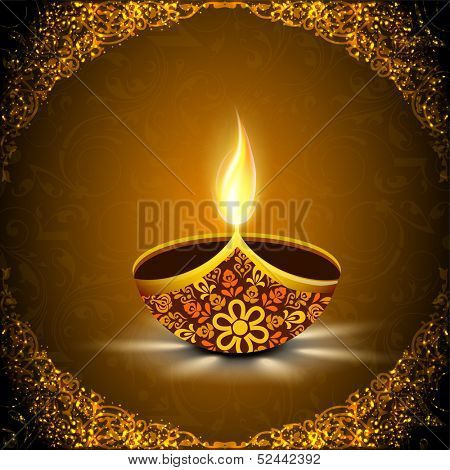 Indian festival of lights, Happy Diwali concept with illuminated floral decorated oil lit lamp on shiny floral decorated red background.