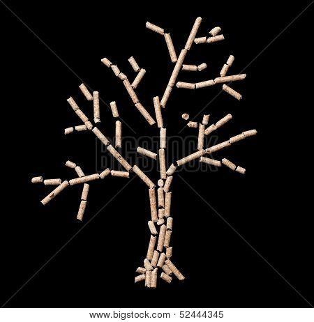 nice tree of wood pellet on black background