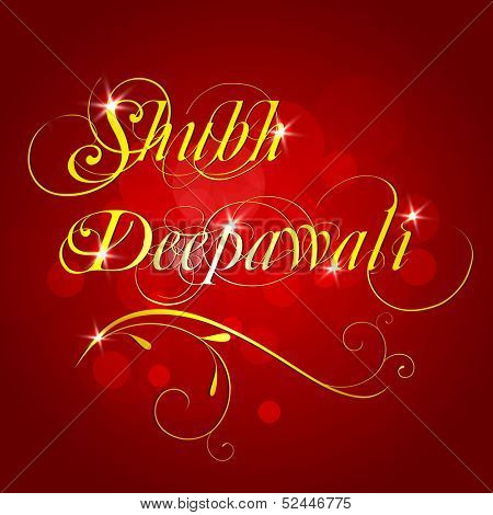 Greeting card for Indian festival of lights, stylize golden text Shubh Deepawali (Happy Deepawali) on shiny red background.