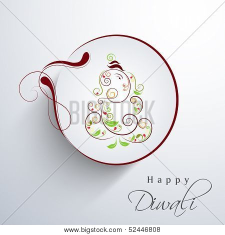 Indian festival of lights, Happy Deepawali background with illustration of Hindu mythology Lord Ganesha in floral decorated frame on grey background.