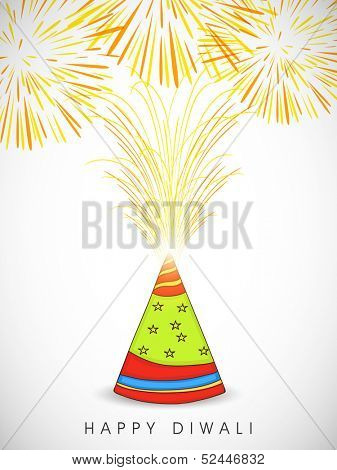Indian festival of lights, Happy Deepawali background with colorful explosion from firecracker on abstract grey background.