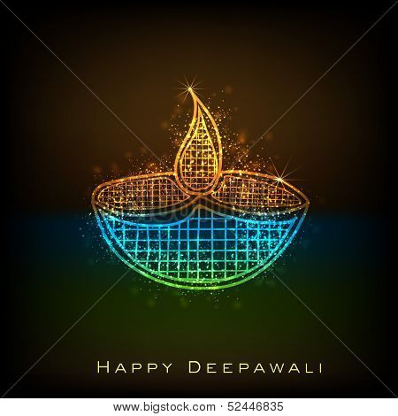 Indian festival of lights, Happy Deepawali concept with shiny colorful oil lit lamp on dark background, can be use as poster, banner or greeting card.