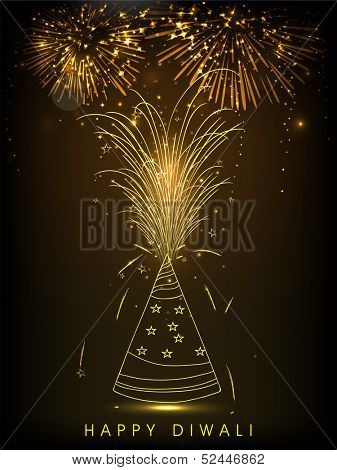 Indian festival of lights, Happy Deepawali background with beautiful firework in night background.
