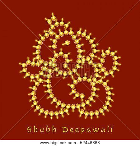 Illustration of Hindu mythology Lord Ganesha made by golden pearls on red background for Indian festival of lights, Shubh Deepawali (Happy Deepawali).