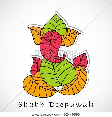 Illustration of Hindu mythology Lord Ganesha made by colorful leafs on grey background for Indian festival, Shubh Deepawali (Happy Deepawali).
