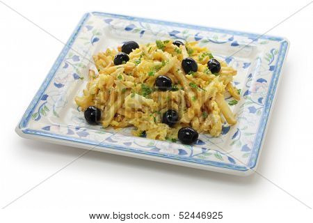 bacalhau a bras, Portuguese cuisine, a dish with salt cod, potatoes and eggs