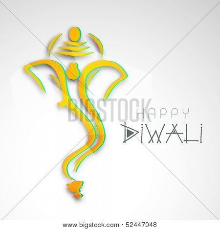 Creative colorful illustration of Hindu mythology Lord Ganesha on abstract grey background for celebration of Indian festival of lights, Happy Diwali.