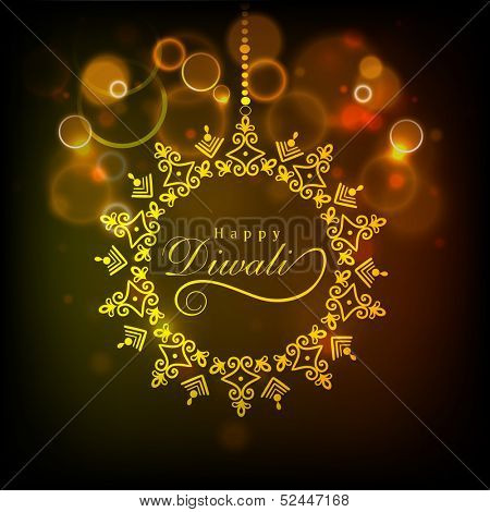 Indian festival of lights, with stylish text of Happy Diwali  in golden frame on shiny abstract background.