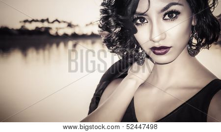 Portrait of beautiful multi racial young woman