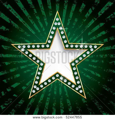 vector golden green star on grunge burst