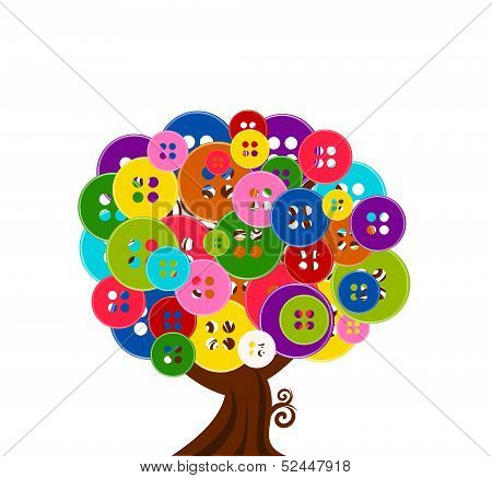 Vector Illustration Of An Abstract Tree With Buttons Isolated On White Background