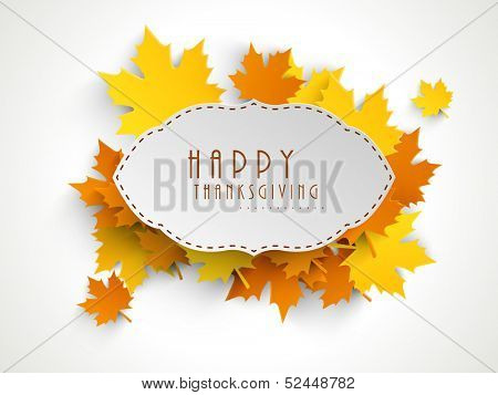 Happy Thanksgiving sticker, tag or label beautiful maple leaves.