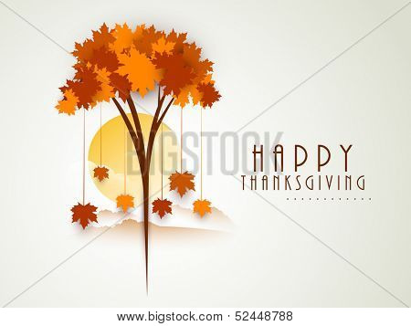 Stylize Happy Thanksgiving background with red autumn maple tree on morning background, can be use as flyer, banner or poster,