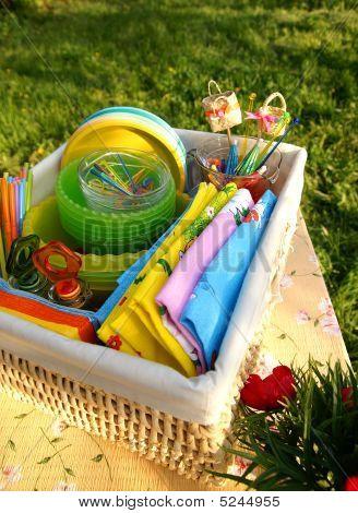 Bright Multicolor Summer Picnic Accessories In A Basket