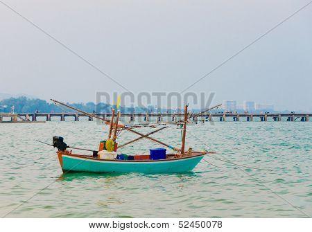 Blue Fishing Boat On Sea