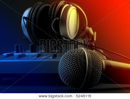 Microphone With Mixer And Headphones - Music Studio Set