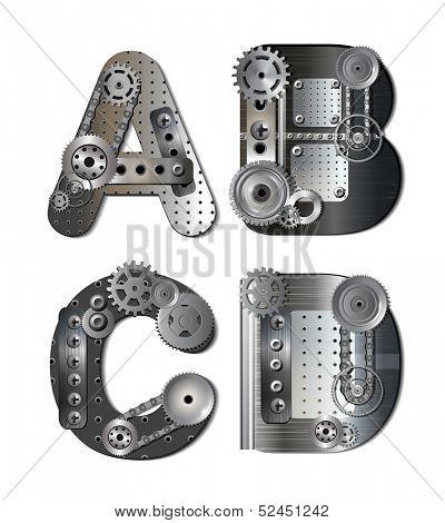 Mechanical alphabet. Raster version of illustration.
