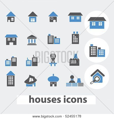 houses icons set, vector