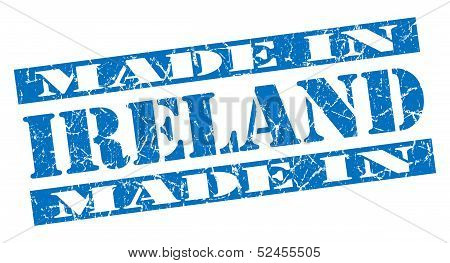 Made In Ireland Grunge Blue Stamp