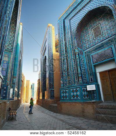 Oriental ancient complex Shah i Zinda at sunrise. Samarkand, Uzbekistan