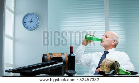 Man Drinking On The Job