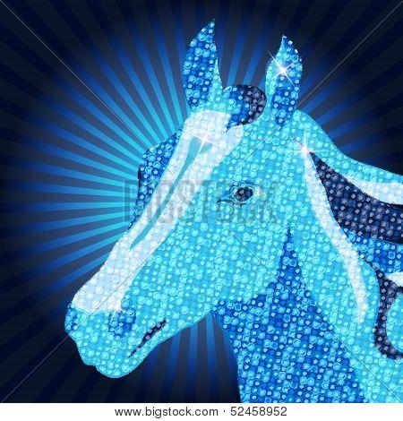 Symbol of 2014 Vector Mozaic Horse