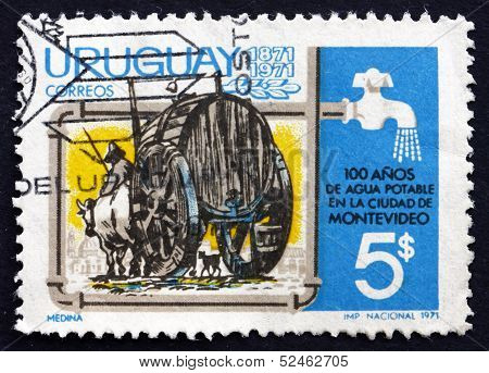 Postage Stamp Uruguay 1971 Water Cart And Faucet
