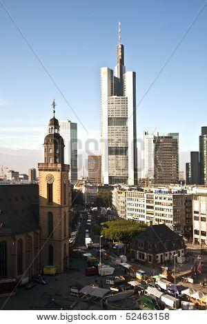 View To Skyline Of Frankfurt With Hauptwache