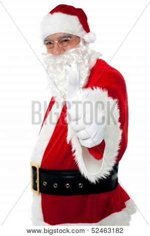 Happy Santa Gesturing Thumbs Up