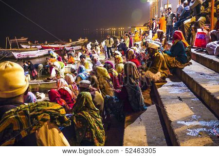 People In The Night In Varanasi In Religious Washing Ceremony