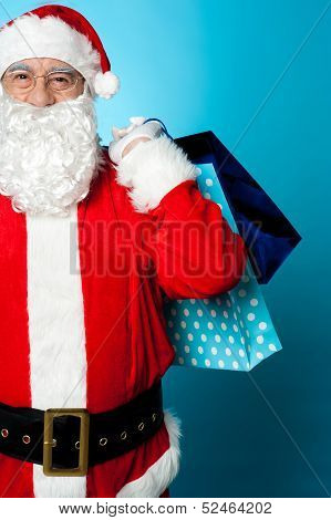 Saint Nicholas Carrying Colorful Shopping Bags