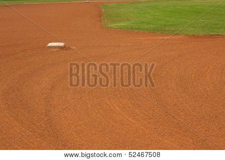 Baseball Second Base with the field beyond and room for copy