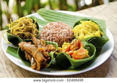 Traditional Vegetarian Curry With Rice In Bali Indonesia