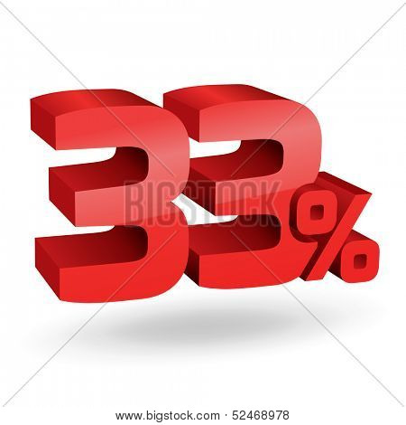 33% percent; digits. Vector illustration.