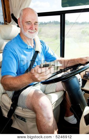 Senior Driver Using Gps