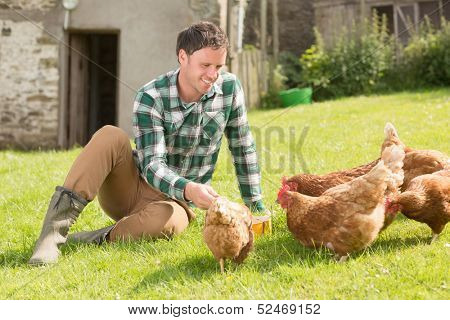 Young man feeding his chickens sitting on the grass
