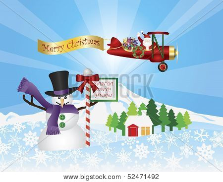 Santa In Plane Flying Over Snow Scene