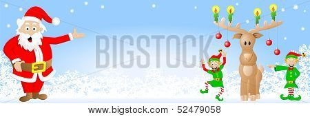 Christmas Banner With Santa Claus, Elves And Reindeer