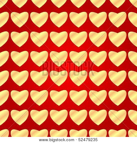 Seamless Pattern Of Gold Hearts On A Red Background.background For Valentine Day.vector