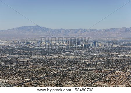 LAS VEGAS, NEVADA - Oct 15:  View of Las Vegas strip and sprawl.  Shot from top of Frenchman Mountain.  Vegas has 149,820 hotel rooms with daily rate of $110 on October 15, 2013 in Las Vegas, Nevada.