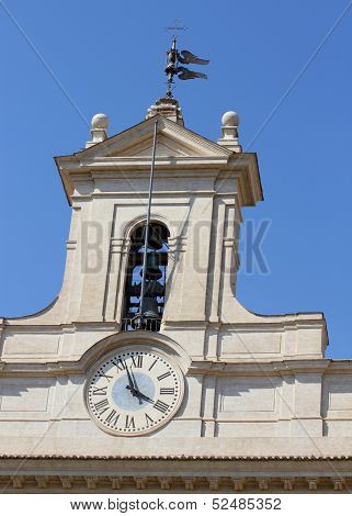 Clock Of Palazzo Montecitorio Headquarters Of The Italian Parliament