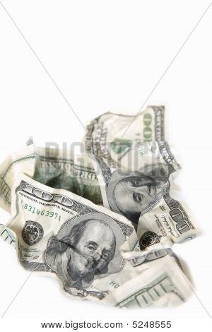 Rumpled Dollar Banknotes