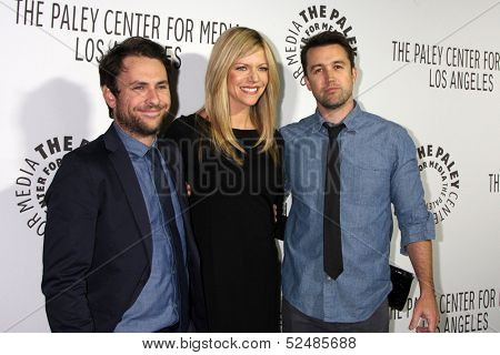 LOS ANGELES - OCT 16:  Charlie Day, Kaitlin Olson, Rob McElhenny at the 2013 Paley Center For Media Benefit Gala at 21st Century Fox Studios Lot on October 16, 2013 in Century City, CA