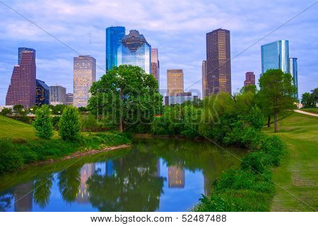 Houston Texas modern skyline from park river US
